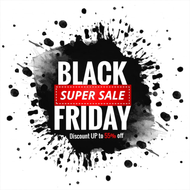 Vendita venerdì nero con banner splash inchiostro Vettore gratuito
