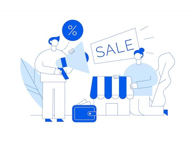 Vendita vettoriale illustrazione moderna dello shopping online con grande uomo e donna, negozio, portafoglio Vettore Premium