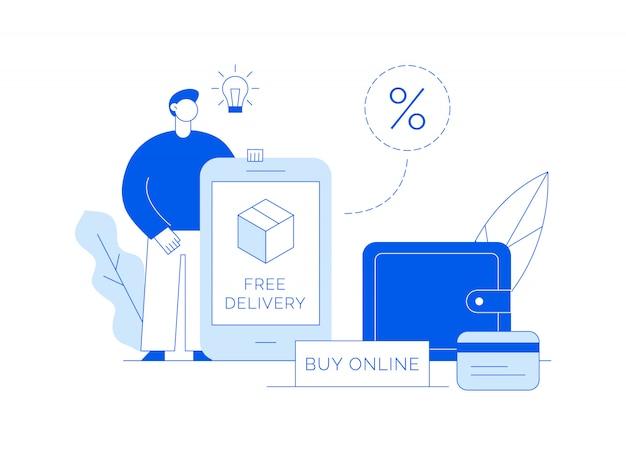 Vendita vettoriale illustrazione moderna dello shopping online con grande uomo, scatola di consegna, schermo app e portafoglio Vettore Premium