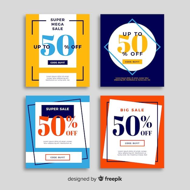 Vendita web banner collectio Vettore gratuito