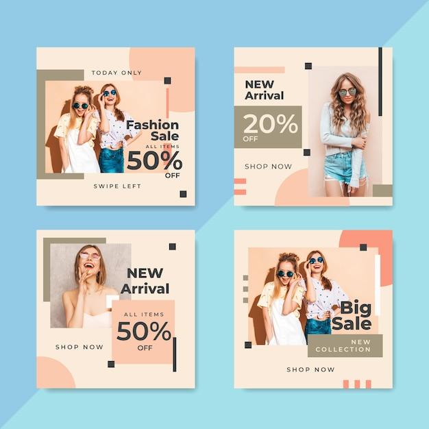 Vendite di modelli di social media template Vettore gratuito