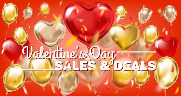 Vendite di san valentino e offerte banner in oro rosso con palloncini metallici Vettore Premium