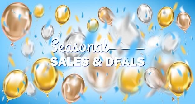Vendite stagionali e offerte bandiera d'oro blu con palloncini metallici Vettore Premium