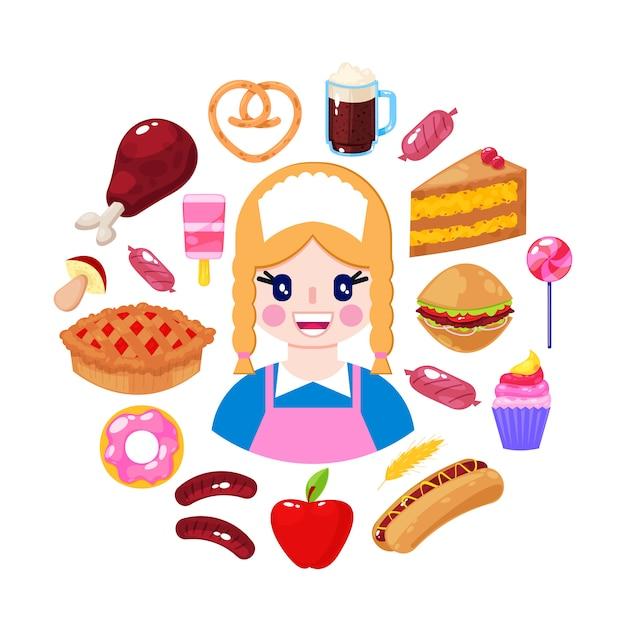 Venditore allegro e alimenti a rapida preparazione su fondo bianco. operaio del supermercato illustrazione vettoriale Vettore Premium
