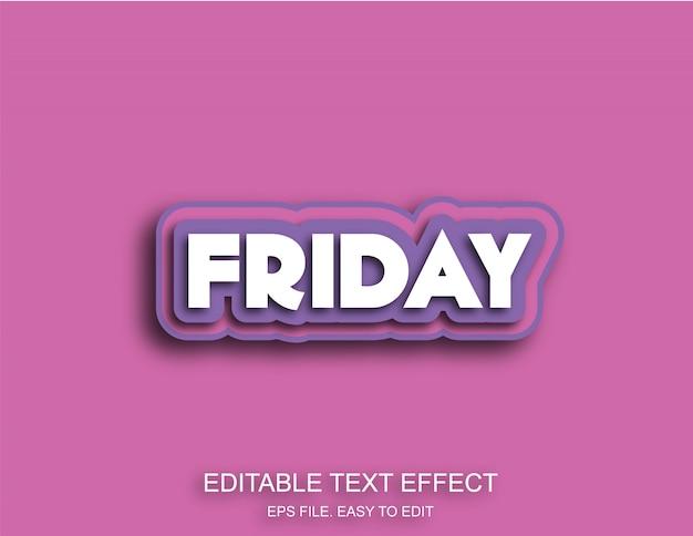 Venerdì effetto testo di colore viola Vettore Premium