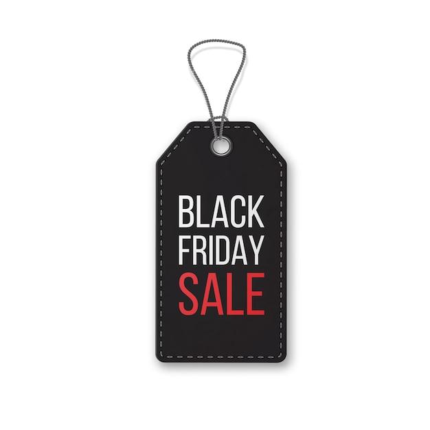 Venerdì nero realistico strutturato, etichetta di vendita su una corda. simbolo della vendita delle vacanze di natale. Vettore Premium