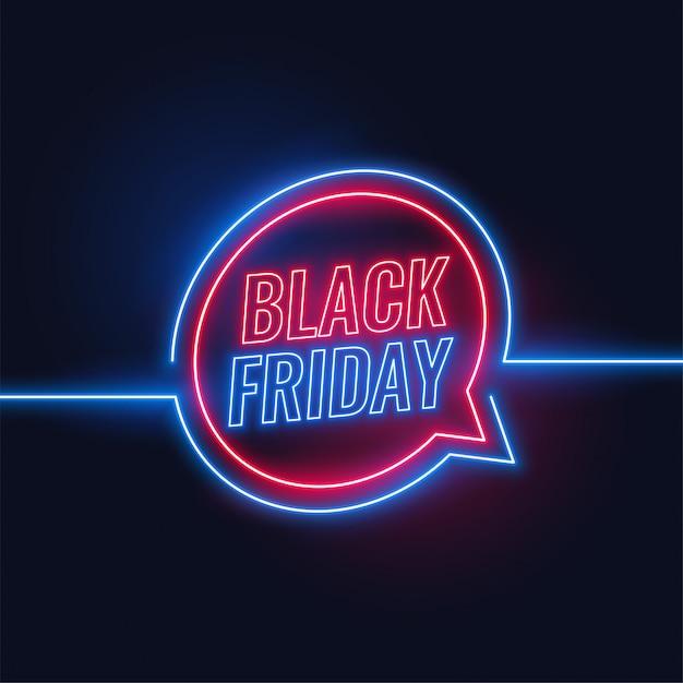 Venerdì nero sfondo di luci al neon Vettore gratuito