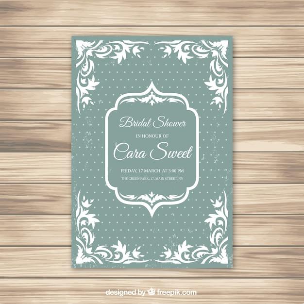 Verde e bianco da sposa doccia invito con sfondo dot Vettore gratuito