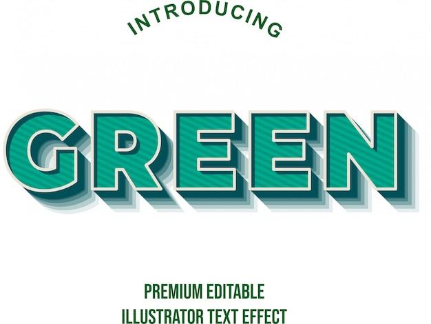 Verde - effetto testo grassetto forte illustratore 3d Vettore Premium