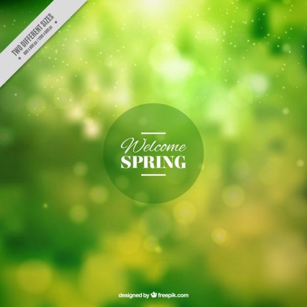Verde primavera sfondo sfocato Vettore Premium