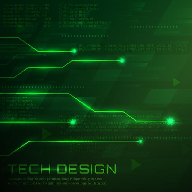 Verde Progettazione Di Sfondo Tecnologico Scaricare Vettori Gratis