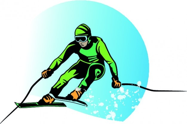 Verde sciatore cartone animato vettore fondo scaricare