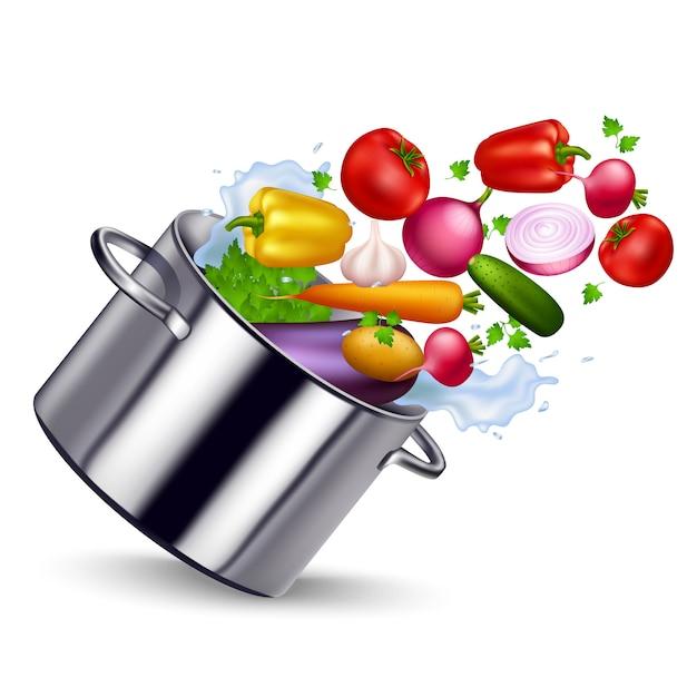 Verdura fresca nell'illustrazione della vaschetta del metallo Vettore gratuito