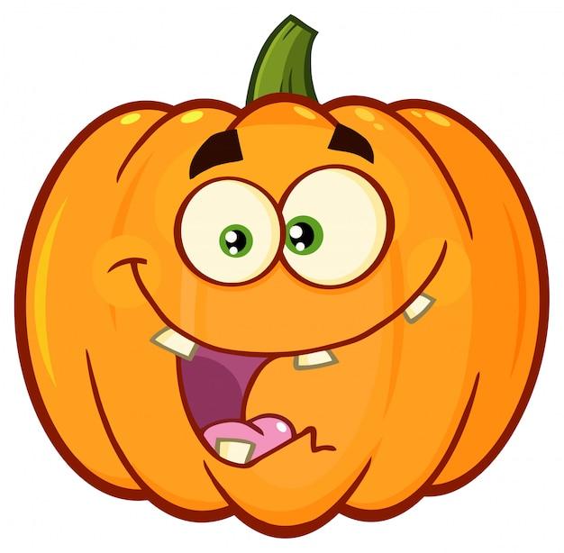 Verdura zucca arancione cartoon emoji face character Vettore Premium