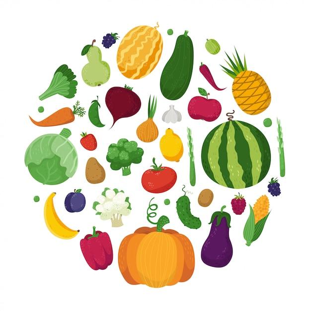 Verdure, frutta e bacche in un cerchio Vettore Premium