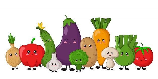 Verdure kawaii - patate, carote, cetrioli, broccoli, sedano Vettore Premium