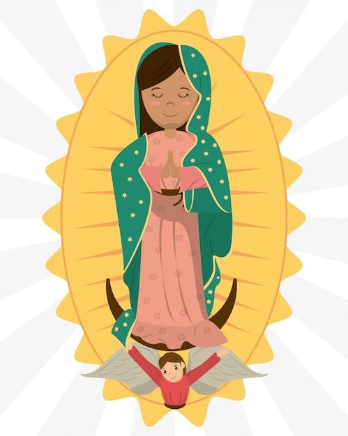 Vergine di guadalupe immagine devozione angelo Vettore Premium