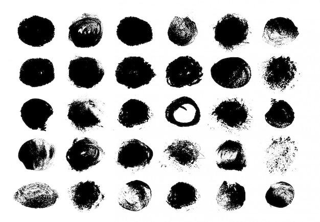 Vernice nera rotonda del grunge. cerchio macchia trama. elementi di decorazione Vettore Premium