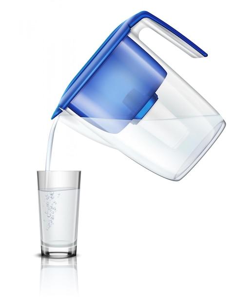 Versare l'acqua nel bicchiere lanciatore di filtro domestico attraverso un processo realistico di purificazione della composizione in cartuccia di carbone Vettore gratuito