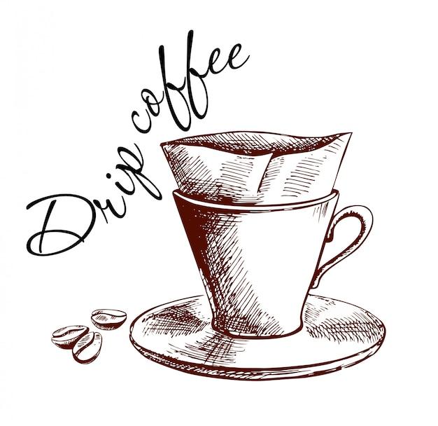 Versare sopra caffettiera poster di caffè disegnato a mano Vettore Premium