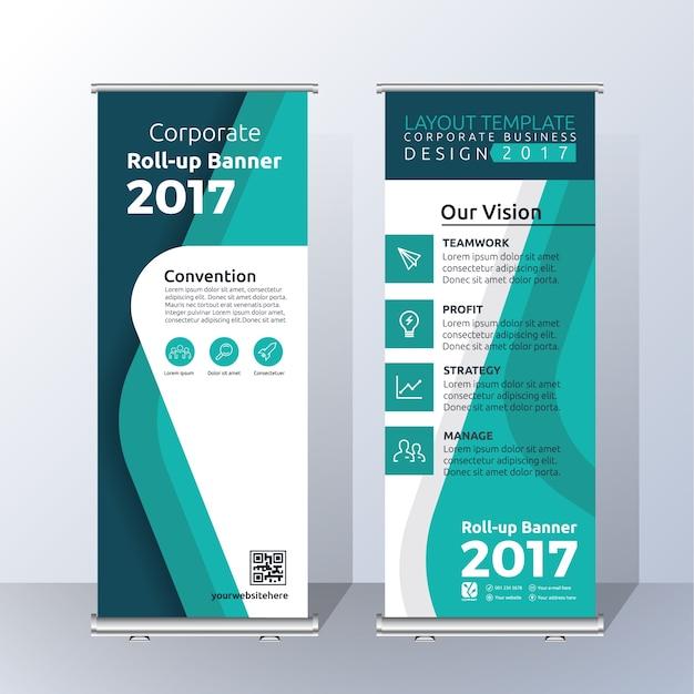 Vertical roll up design banner modello per annunciare e pubblicizzare. modello di layout di colore verde astratto Vettore gratuito