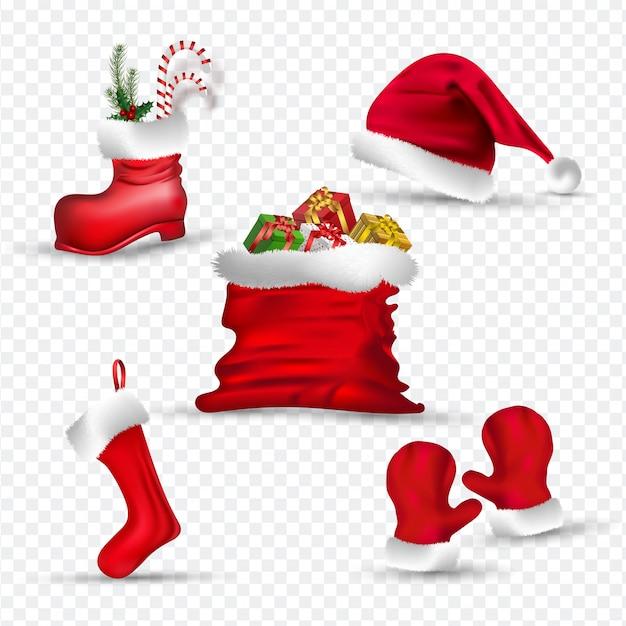 Vestiti da babbo natale come guanti, calza, cappello, stivale e sacco regalo. Vettore Premium