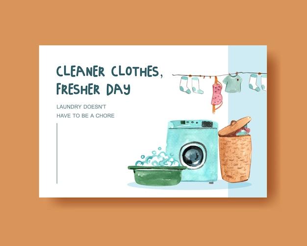 Vestiti più puliti, illustrazione dell'acquerello della lavatrice Vettore gratuito