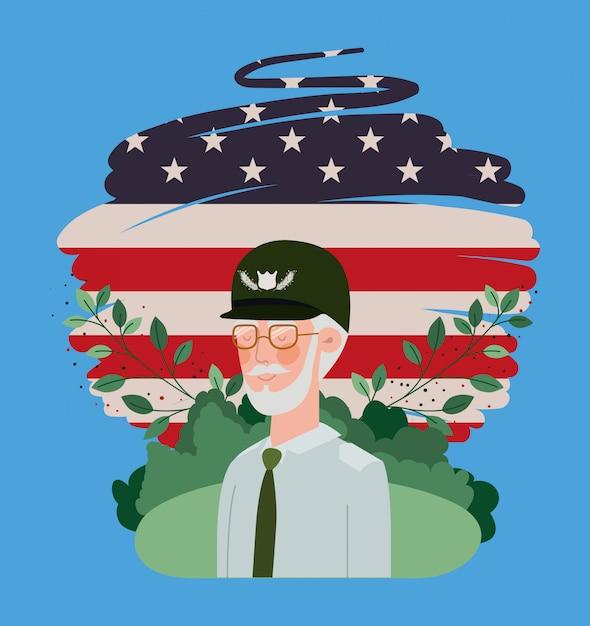 Veterano militare con bandiera usa dipinta nel campo Vettore Premium