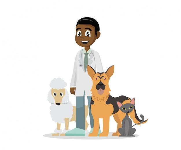 Veterinaria e animali domestici. Vettore Premium