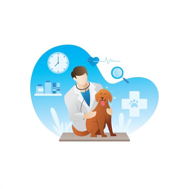 Veterinario con animali domestici Vettore Premium