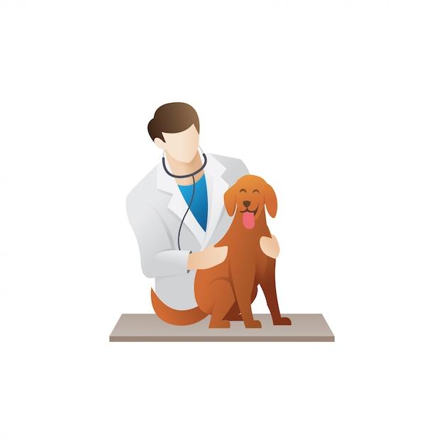 Veterinario con un cane Vettore Premium