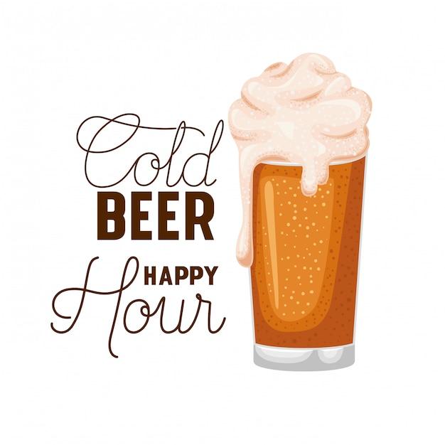 Vetro di etichetta happy hour birra fredda Vettore Premium