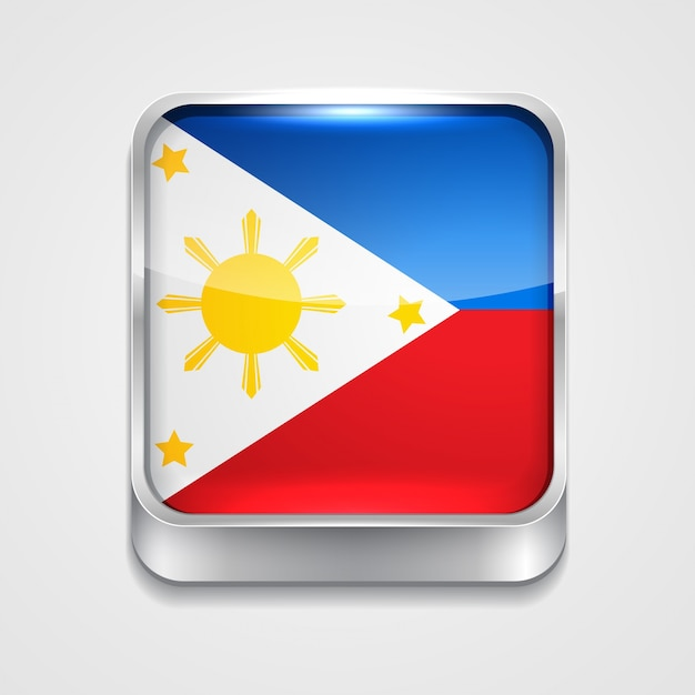 Vettore 3d stile icona della bandiera delle filippine Vettore gratuito