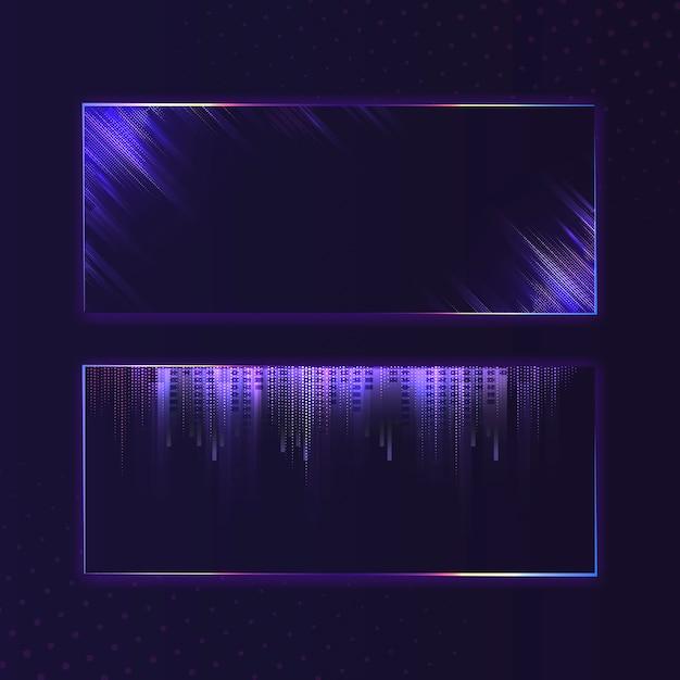 Vettore al neon dell'insegna di rettangolo porpora viola in bianco Vettore gratuito