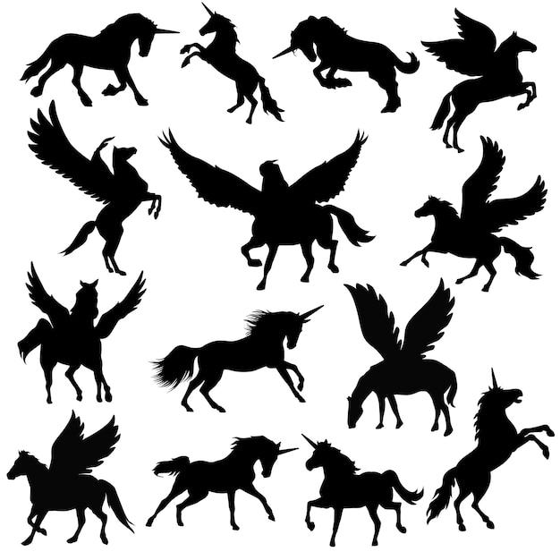 Vettore animale della siluetta di clipart di pegasus unicorn Vettore Premium