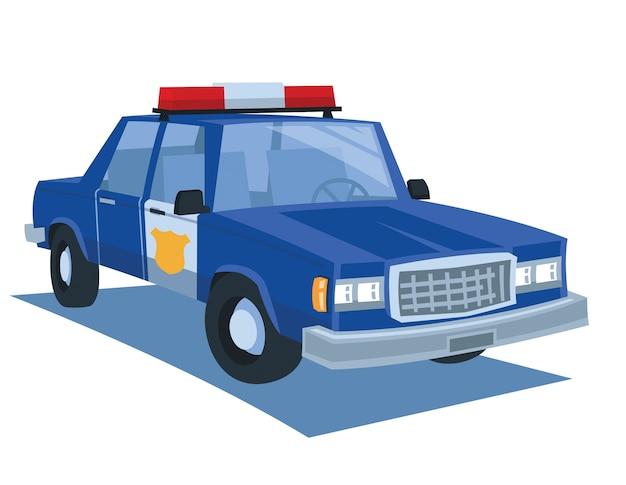 Vettore blu del fumetto dell'automobile della polizia Vettore Premium