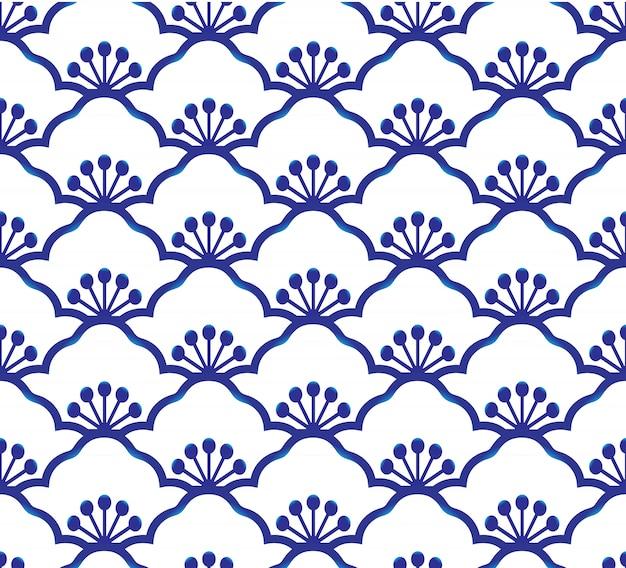 Vettore blu e bianco semplice della decorazione di arte indaco della porcellana senza cuciture, blu cinese, modello ceramico Vettore Premium