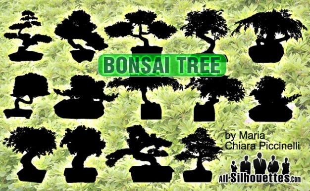 Vettore bonsai silhouettes Vettore gratuito