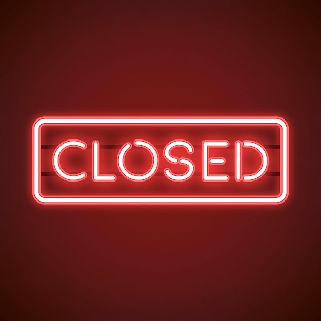Vettore chiuso rosso del segno al neon Vettore gratuito
