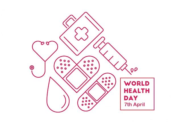 Vettore concettuale dell'illustrazione di giorno di salute di mondo Vettore Premium