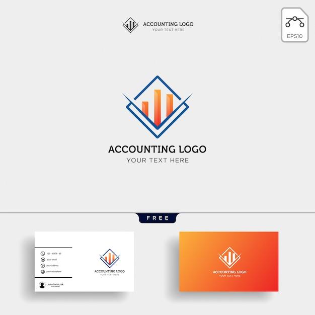 Vettore creativo del modello di logo di finanza di contabilità isolato Vettore Premium