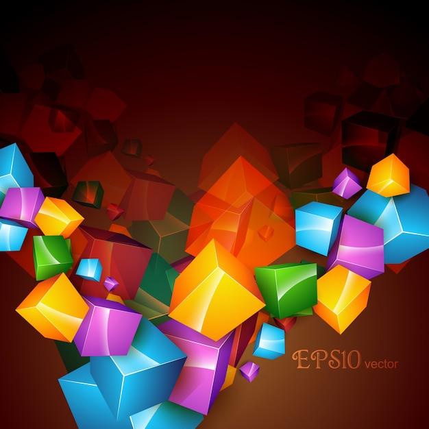 Vettore cubo arte astratto sfondo Vettore Premium