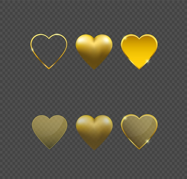 Vettore cuore d'oro. Vettore Premium