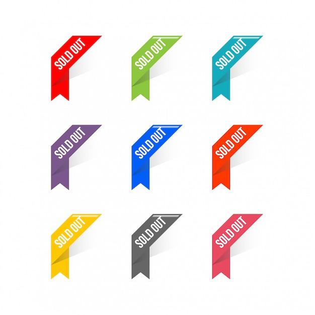 Vettore d'angolo del nastro del nastro, illustrazione Vettore Premium