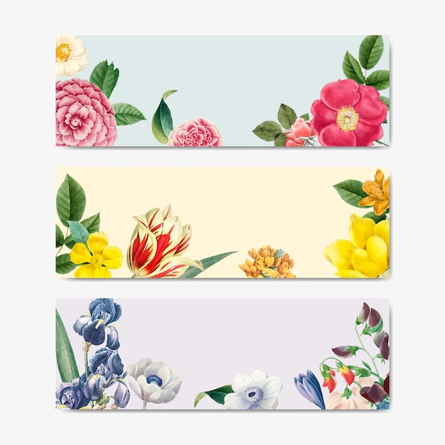 Vettore d'annata del contrassegno di titolo di concetto della natura floreale Vettore gratuito