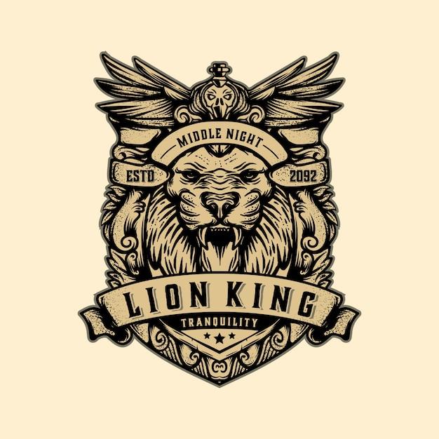 Vettore d'annata del modello di logo di re leone Vettore Premium