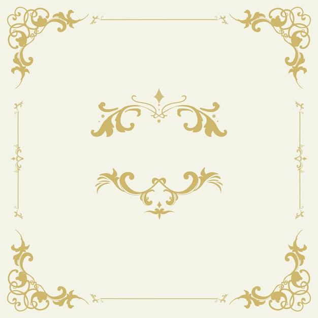 Vettore d'annata del telaio dell'ornamento fiorito Vettore gratuito