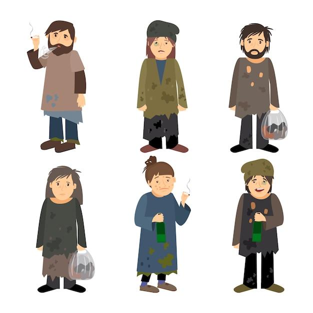 Vettore degli uomini e delle donne del senzatetto isolato Vettore Premium