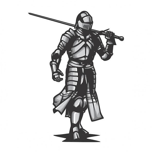 Vettore del cavaliere dell'armatura del metallo Vettore Premium