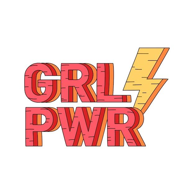 Vettore del distintivo di potere della ragazza di grl pwr Vettore gratuito